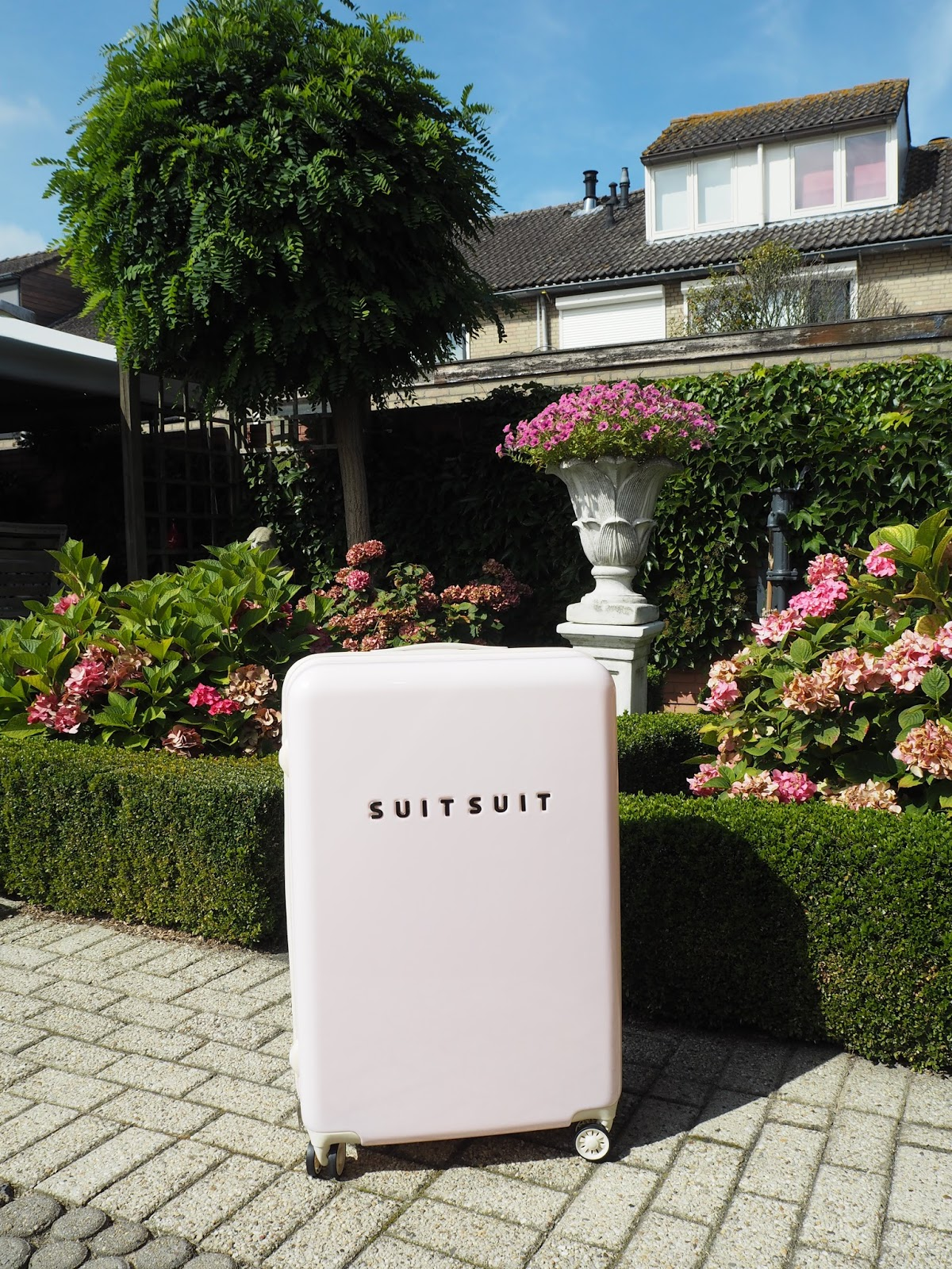 suitsuit fabulous fifties pink dust 24 spinner winactie koffergigant rachel kromdijk. Black Bedroom Furniture Sets. Home Design Ideas
